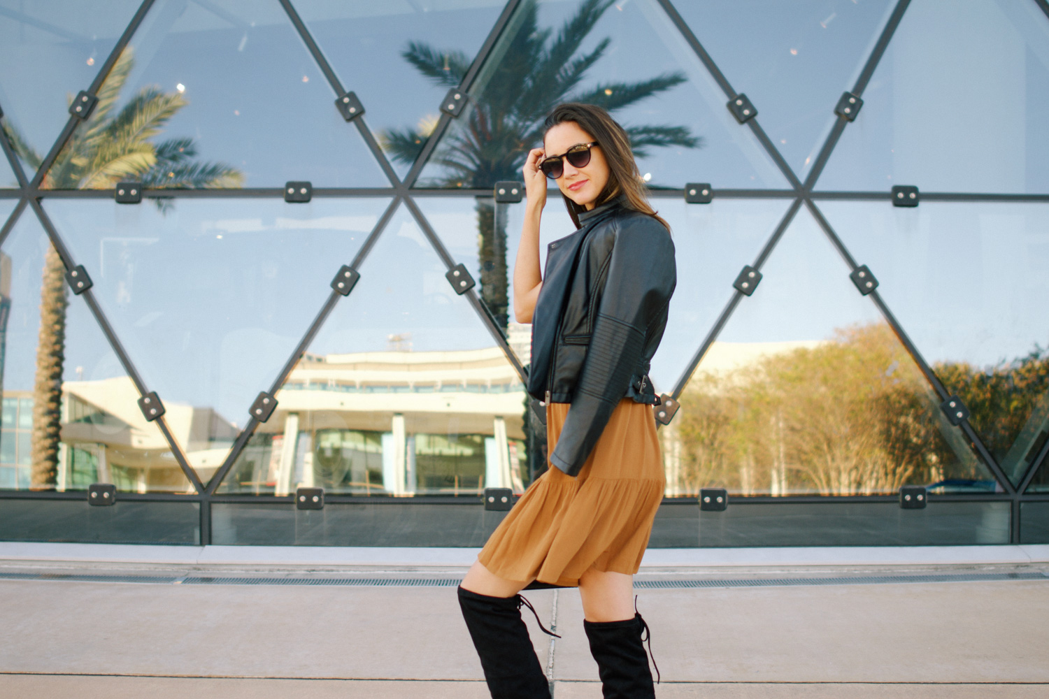 Mustard Dress x Over The Knee Boots